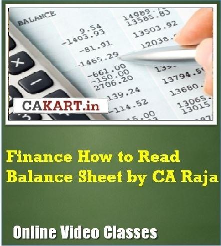 CAKART Finance How to Read Balance Sheet by CA Raja Online Course(Voucher)