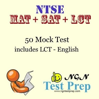 NGN Test Prep NTSE - MAT + SAT + LCT : 50 Mock Test Includes LCT Online Test(Voucher)