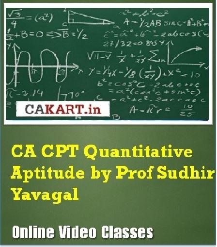 CAKART CA CPT Quantitative Aptitude by Prof. Sudhir Yavagal Online Course(Voucher)