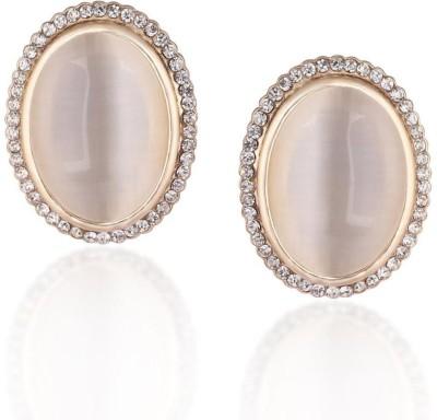 Donatella Designer Cubic Zirconia Brass Stud Earring