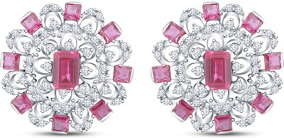 Mani Jewel Floral White Gold 18kt Diamond, Ruby Stud Earring