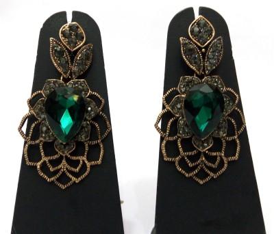 Womaniya rama green web pattern Alloy Drop Earring