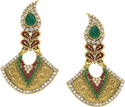 Aarnaa Engraved Metal Design Alloy Chandelier Earring