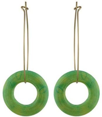 TrinketsANDTreasures Green Wooden Wood Hoop Earring