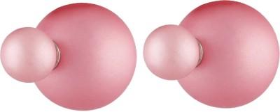 Aaishwarya Pink Frosted Double Alloy Stud Earring