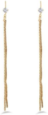 Jazz Jewellery Jazz Jewellery Designer Stone Earrings With Long Chain Hangings Zircon Brass Drop Earring Alloy Tassel Earring
