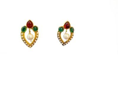Ratnaraj India Gold Plated Red Green Color Pearl Copper Drop Earring