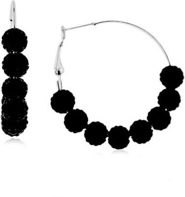 Netaya Brilliant Black Baubles Swarovski Crystal Stainless Steel Hoop Earring