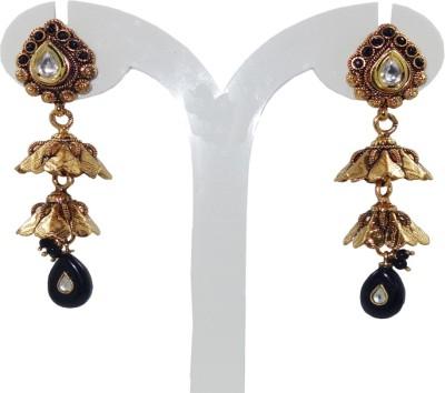Anjan Appealing Designer Golden Cubic Zirconia Brass Jhumki Earring