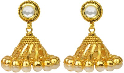 Jillcart Gold Plated Jhumka With Pearls And Ruby Pearl Copper Jhumki Earring