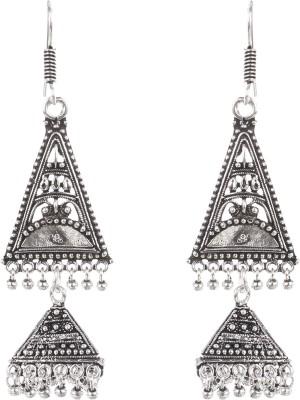Saadgi Silver Oxidized Alloy Dangle Earring