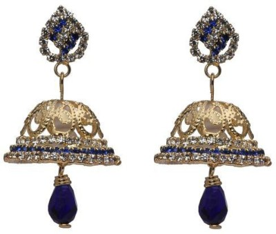 ACW Gold Plated Blue and White Stones Jhumka Metal Jhumki Earring