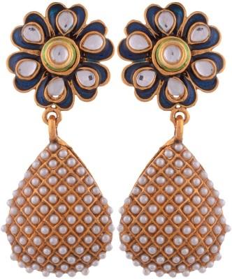 Grandiose Gold Plated Pearl Blue Meenakari Flower Copper Jhumki Earring