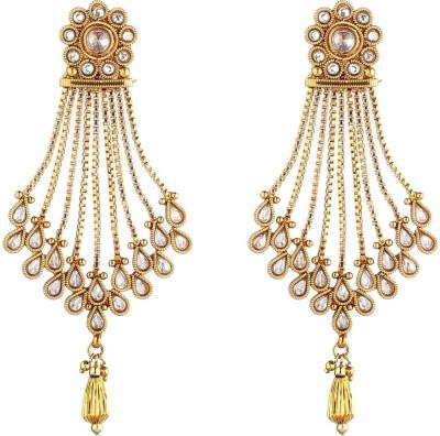 NEnterprises Gold Plated Polki Metal Dangle Earring