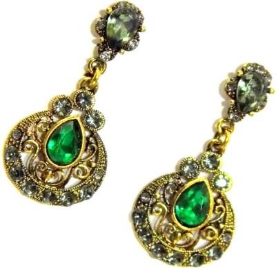 GiftPiper Green & Gold Danglers Earring Alloy Earring Set