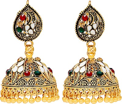 Memoir Gold Plated Faux Kundan with CZ Studded and Meenakari Nice Cubic Zirconia Brass Jhumki Earring