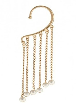 Caratcube Classic Non Piercing Single Piece With Drop Down Pearls Alloy Cuff Earring