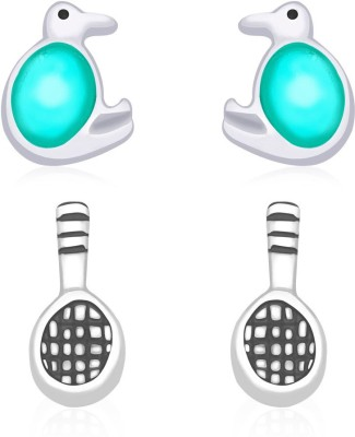 Taraash Turtle & Badminton symbols Combo Sterling Silver Stud Earring