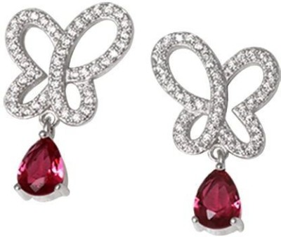 TUAN Trendy dangle Diamond, Cubic Zirconia, Ruby Sterling Silver Drop Earring