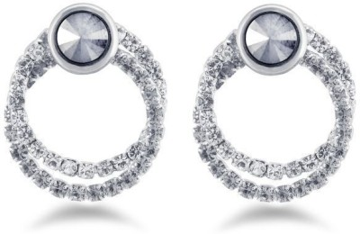 Jazz Jewellery Silver Crystal Embellished Round Shaped AD Stone Earrings Alloy Drop Earring
