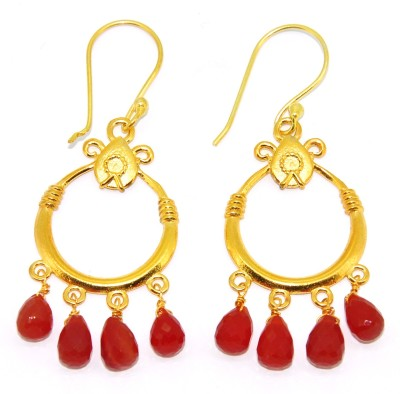 Casa De Plata Pear Red Carnelian Brass Earring Carnelian Brass Dangle Earring