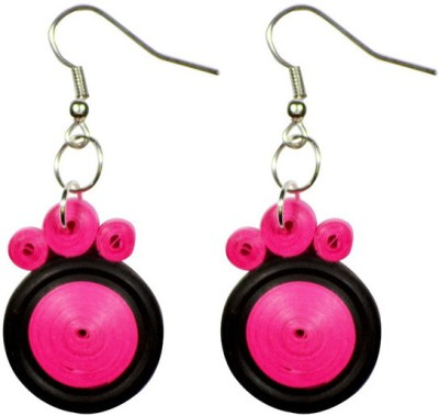Trendmania pink and Black round paper quilled earrings Paper Dangle Earring