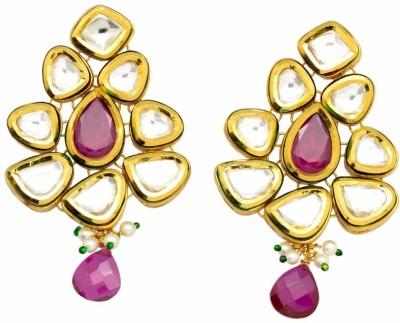 YugshaJewels Ethnic Kundan Ruby, Pearl, Cubic Zirconia Brass Drop Earring