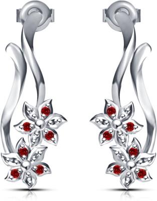 Kirati Stylish Flower Shape Red Cubic Zirconia Alloy Stud Earring