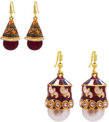 MK Jewellers Shanku and Ghanti shape earring Combo Brass, Copper Earring Set