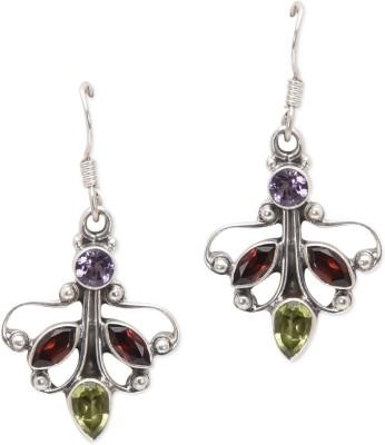 Watch Me Beaming Butterfly - Light Garnet, Peridot, Amethyst Sterling Silver Dangle Earring