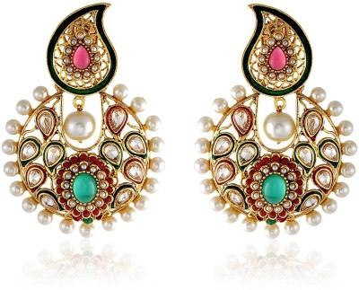 Royal Bling Paisley Jewel Copper Chandbali Earring