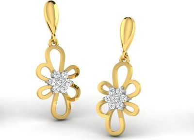 Sparkles Beautiful Pressure set Yellow Gold 18kt Diamond Drop Earring