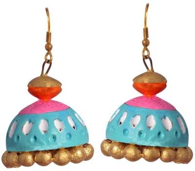 Swanvi Designer Blue Terracotta Earrings for Women Terracotta Jhumki Earring