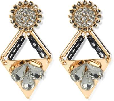 Aimez Chevron Swarovski Studded Metal Drop Earring