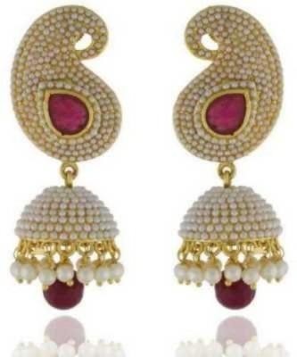 Happyshoppi Beautiful Pearl Brass, Copper Jhumki Earring