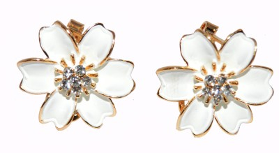 Gi De Meo White Flower Alloy Stud Earring