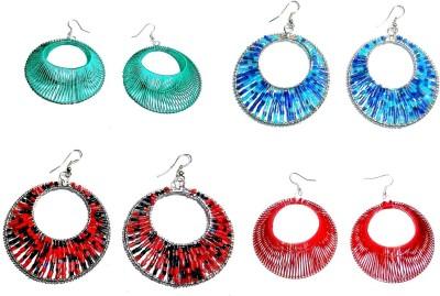 Laron Handicrafts Threaded Hoops Metal Earring Set