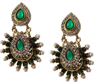 Utopian Green Stone Alloy Chandbali Earring