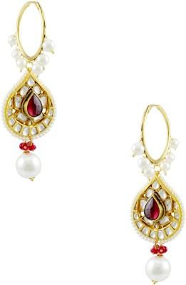 Orniza Kundan Earrings in Maroon Color with Golden Polish Brass Drop Earring