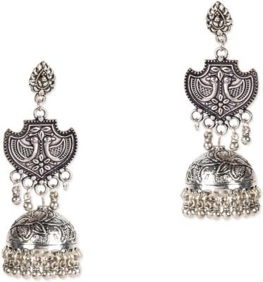 ZeroKaata Twin Peacock German Silver Jhumki Earring