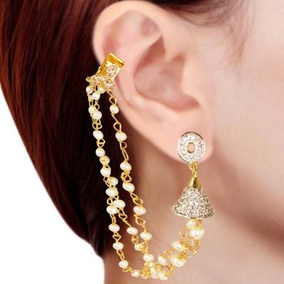 Prisha PPIPLCZER8 Pearl Copper Jhumki Earring