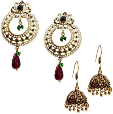 MK Jewellers Victoria Red Green & Oxidized Earring Combo Brass, Copper Earring Set