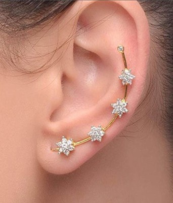 Bandish Gold toned Floral Design American Diamond Cubic Zirconia Alloy Cuff Earring