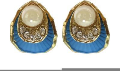 Modish Look Pink Shell Design Brass Stud Earring