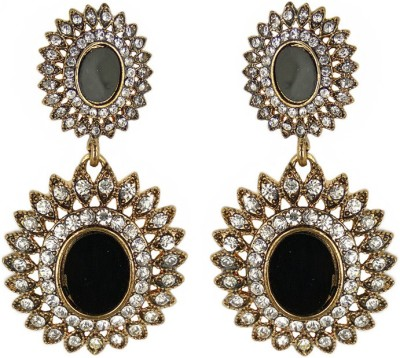 000 Fashions Glamorous Antique Golden Crystal Alloy Drop Earring