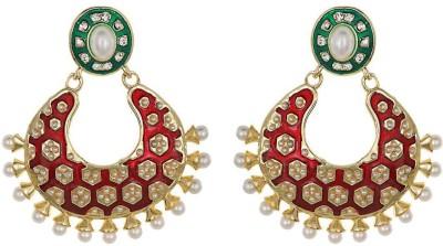 Amroha Crafts Red Green Tradtional Matka Alloy Chandbali Earring