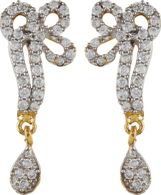 Moda Stella Bow Shaped Cubic Zirconia, Zircon Brass Drop Earring
