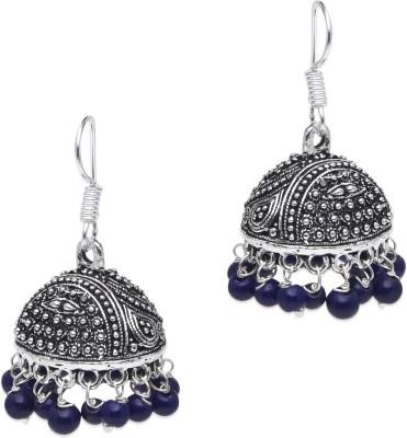 Supriya Violet Pearls & White Metal Jhumki Earring