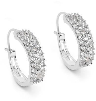 Johareez BridalMe 3.60CTW White Cubic Zirconia .925 Sterling Silver Hoops Earrings Cubic Zirconia Sterling Silver Hoop Earring