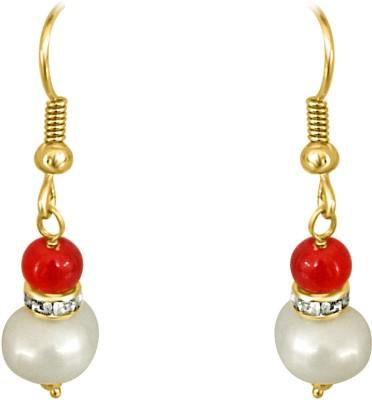 Surat Diamond Real Big Pearl and Red Stone Pearl Metal Dangle Earring